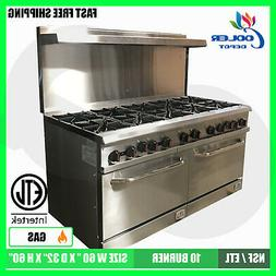 "NEW 60"" Double Oven Range 10 Burner Hot Plate Stove Top Comm"