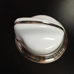 O'Keefe & Merritt Stove Parts -NEW Knob White w/chrome bezel