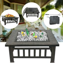 Outdoor 32'' Garden Fire Pit BBQ Square Stove Patio Backyard