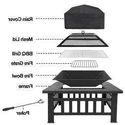 "Outdoor 32"" Metal Firepit Backyard Patio Garden Square Stove"