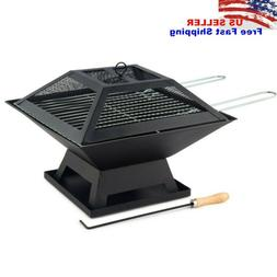 Outdoor Metal Fire Pit Backyard Patio Garden Square Stove Fi