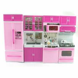 Pink Deluxe Modern Barbie Size Kitchen Stove Fridge Micro Wa