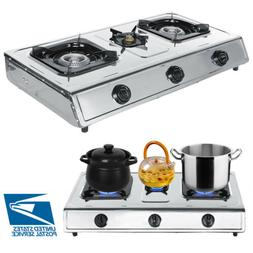 Portable 3 Burner Stainless Steel Propane LPG Gas Stove Outd