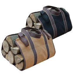 Behogar Portable Canvas Log Firewood Wood Storage Tote Bag H
