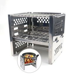Portable Folding Stainless Steel Wood Burning Camp Stoves Hi