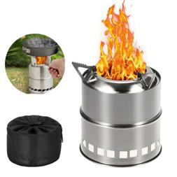 Portable Picnic BBQ Stainless Steel Camping Wood Alcohol Bur