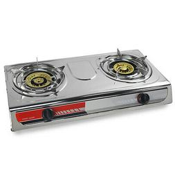 Portable Propane Gas Stove DOUBLE 2 Burner CAMPING TAIL GATE