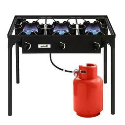 Portable Propane 225,000-BTU 3 Burner Gas Cooker Outdoor Cam