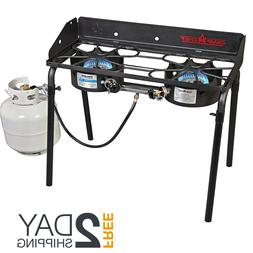 Propane Gas Range Stove 2 Two Burner Camp Outdoor Cooking Ba