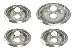 Range Stove Chrome Drip Pans for CP2 Set:  6 Inch Bowls &  8