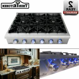 Thor Kitchen 36 Inch Rangetop Stainless Steel 6 Burners Rang