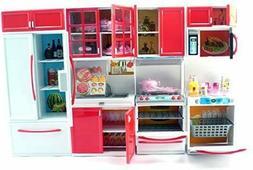 Red Deluxe Modern Barbie Size Kitchen Stove Fridge Micro Wav