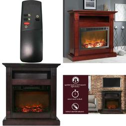 Sienna 34 in. Electric Fireplace in Mahogany 210 sq. ft. hea