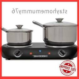 Small Electric Cooktop Portable Stove Double Burner Thermost