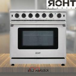 "Thor Kitchen Stainless Steel 36"" 6 BURNER Gas Range Stove Ba"