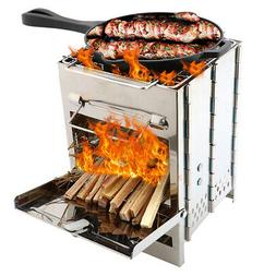 Stainless Steel Backpacking Wood Burning Stove Mini BBQ Gril