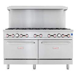 """Empura 60"""" Stainless Steel Commercial Gas Range with Two Ove"""