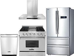 Thor Kitchen 4-Piece Stainless Steel Kitchen Package HRF3601