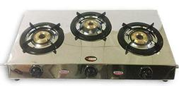 Stainless Steel Three 3 Brass Burner Gas Stove COOKTOP LPG S