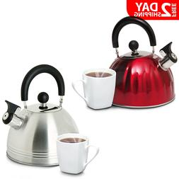 Stainless Steel Whistling Tea Kettle Hot Water Stove Top Twi