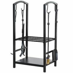 Steel 2-Tier Heavy Duty Firewood Rack with 4 Tools & Accesso