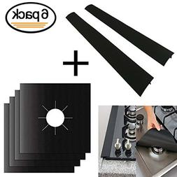 Stove Burner Covers  4 Pack + Silicone Stove Counter Gap 2 P