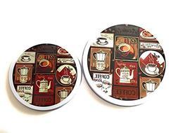 "Stove Burner Covers NEW Set 4 Coffee Cappuccino Java  10""  8"