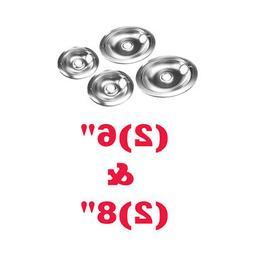 "Stove Drip Pans Set for Whirlpool 6"" &8"" Electric Range Refl"