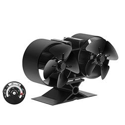 Sonyabecca Stove Fan 8 Blade Twin Motor Heat Powered Wood St