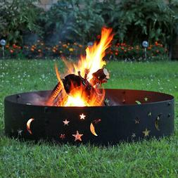 "Sunnydaze 36"" Wood-Burning Fire Ring Black Steel with Die-Cu"
