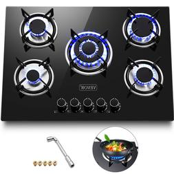 """Tempered Glass 5 Burners Stove Gas Cooktop 30"""" Multi-burners"""