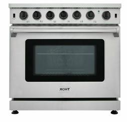 "Thor Kitchen 36"" Gas Range Stove Oven Stainless Steel"