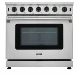 Thor Stainless Steel Kitchen 36inch Gas Range Stoves Oven LR