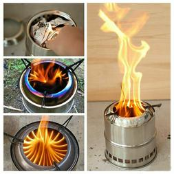US Outdoor Wood Stove Backpacking Portable Survival Wood Bur
