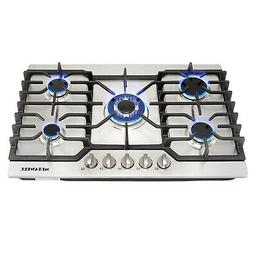 USA-30 inch Stainless Steel Gas Cooktops 5 Burners Built-in