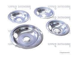 USA Premium Store CP2 Range Stove Chrome Drip Pans Bowls Set