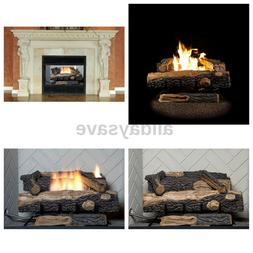 24 in. Vent-Free Natural Gas Fireplace Logs Thermostat Contr