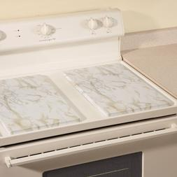 White Marble Burner Covers Stove Top Rectangle Electric Meta