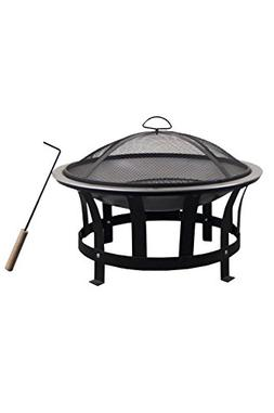 "Astella 24"" Rd Wood Burning Fire Pit with Stainless Steel Bu"