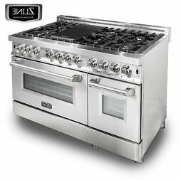 "ZLINE 48"" Stainless Steel 6.0 cu.ft. 7 Gas Burner/Electric O"