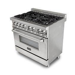 ZLINE 36 in. Professional 4.6 cu. ft. 6 Gas Burner/Electric